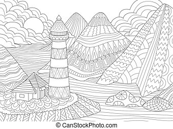Coloring Page. Coloring Book for adults. Colouring pictures of light house among mountains, sun and rocks. Antistress freehand sketch drawing with doodle and zentangle elements.