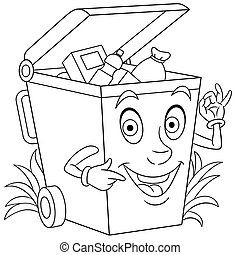 trash can - Coloring page. Coloring picture of cartoon trash...
