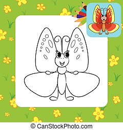Coloring page. Cute butterfly
