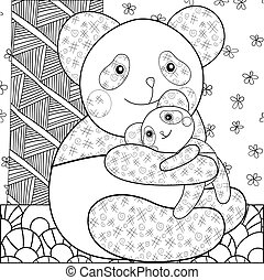 Coloring page cute panda hugging his baby. Whimsical line art vector illustration for print, decoration, greeting card, coloring book