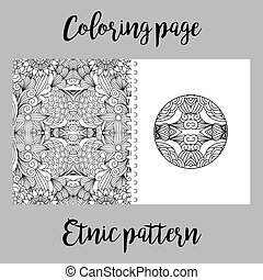 Coloring page design with ethnic pattern