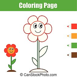Coloring page. Educational children game. Flower. Drawing kids printable activity.