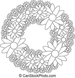 Coloring page floral wreath illustration