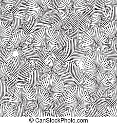 Coloring page for adult coloring book.seamless background.palm leaves,black and white.