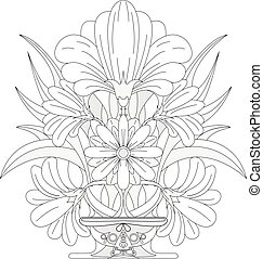 Coloring page for adult. Flowers.