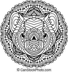 Australian animal. The head of a Tasmanian devil with patterns.