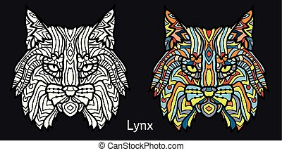 Coloring page for adults - lynx. Black white hand drawn doodle animal. Ethnic patterned vector illustration.