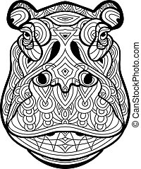 Coloring page for adults. The head of the mighty Behemoth
