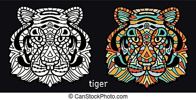 Coloring page for adults - tiger. Black white hand drawn doodle animal. Ethnic patterned vector illustration. African, Indian, totem, tribal design.