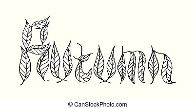 Coloring page for adults with leaf and Autumn word. Doodle...