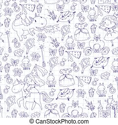Coloring page for book. Cute little princess with unicorn and dragon. Castle for little girl, dress, magic wand. Fairy tale icons with crown and frog. Fantasy illustration