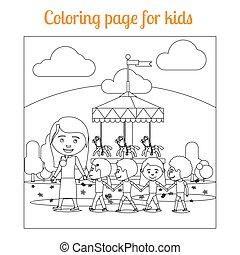 coloring page for kids amusement park