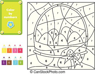 Coloring page for kids. Educational children game. Color by numbers. Easter Eggs
