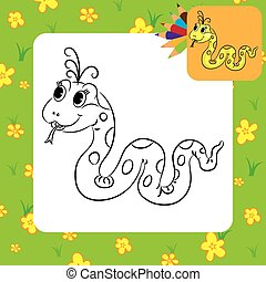 Coloring page. Funny cartoon snake