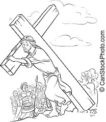 Coloring page. Jesus carrying cross - Outlined illustration...