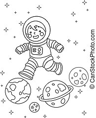 Coloring Page Kid Astronaut Planet Illustration
