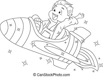 Coloring Page Kid Spaceship Illustration