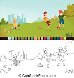 Coloring Page Kids Composition