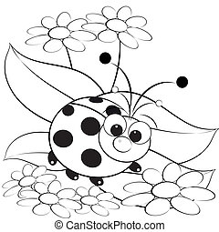 Coloring page - Ladybug and daisy - Kids illustration with...