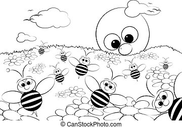 Coloring Page - Landscape with sun and bees - Kid illustr -...