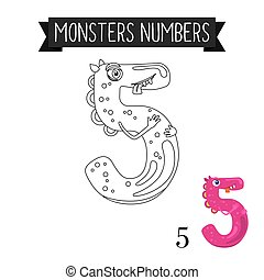 Coloring page monster number 5