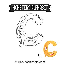 Coloring page monsters alphabet letter C
