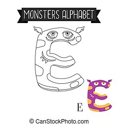 Coloring page monsters alphabet letter E