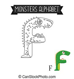 Coloring page monsters alphabet letter F