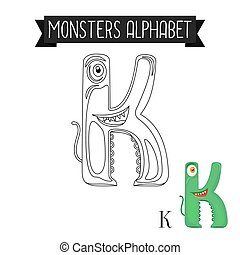Coloring page monsters alphabet letter K