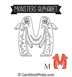 Coloring page monsters alphabet letter M