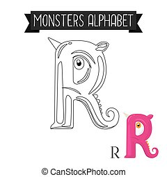 Coloring page monsters alphabet letter R
