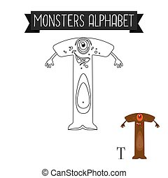 Coloring page monsters alphabet letter T