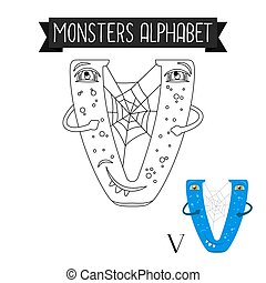 Coloring page monsters alphabet letter V