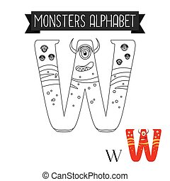 Coloring page monsters alphabet letter W