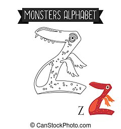 Coloring page monsters alphabet letter Z