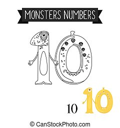 Coloring page monsters number 10