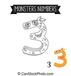 Coloring page monsters number 3