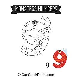 Coloring page monsters number 9