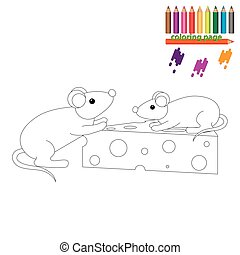 Coloring page. Mouses with a piece of cheese