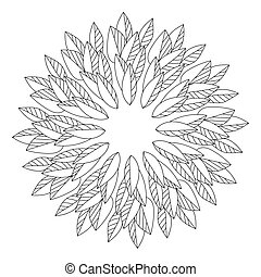 Coloring page of a mandala from the contours of leaves, parts of a plant with straight symmetrical veins arranged in a circle