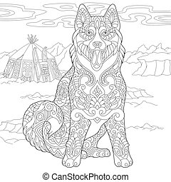 Coloring Page of Alaskan Malamute or Siberian Husky Dog for adult coloring book.