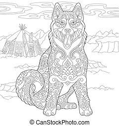 Siberian Husky Dog - Coloring Page of Alaskan Malamute or ...