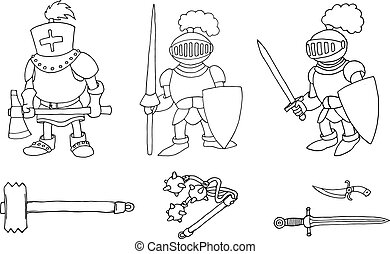 Coloring page of cartoon three medieval knights prepering for Knight Tournament