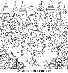 Coloring page of fantasy town - Colouring picture with...