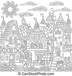 Coloring page of fantasy town
