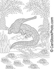 Colouring picture with crocodile. Freehand sketch drawing with doodle and zentangle elements.