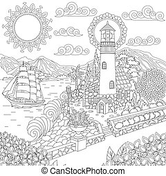 Coloring page of lighthouse on sea shore