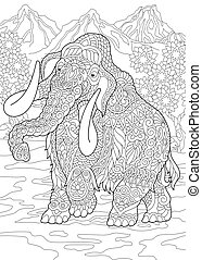 Coloring page of mammoth - Colouring picture with mammoth. ...