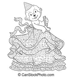 Vector coloring page of monkey in a skirt for children