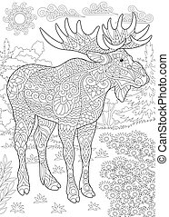 Coloring page of moose - Colouring picture with moose....